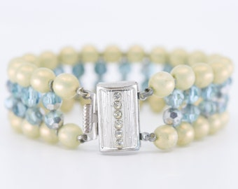 bracelet faux pearl blue clear faceted bead costume jewellery faded vintage evening glamour silver tone diamanté clasp rare 1950s statement