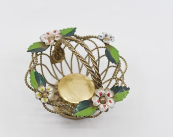 French wire basket paint flower top handle braided metal vintage storage gold tone metal green leaf rustic home decor for the table c1950s
