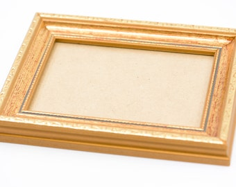 "wood picture frame for the wall French vintage gold gilt bevel edge landscape portrait rectangle card back country home deco 7.6"" x 5.7"""