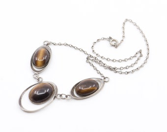 necklace modernist tiger eye stone and chain silver vintage French mod jewellery single strand 3 oval pendant one size made in France 1970s