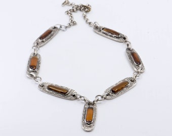 necklace modernist link chain silver faux amber vintage French mod jewellery single strand with pendant adjustable size made in France 1970s