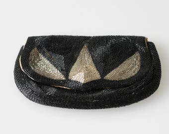 purse vintage clutch French antique art deco bead large pouch black cocktail wedding evening fashion accessory flapper style c.1920s glamour