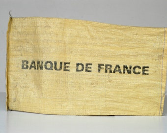 French vintage money bag BANQUE DE FRANCE small hessian sack stamped logo made in France rare collectible / banking advertising typography