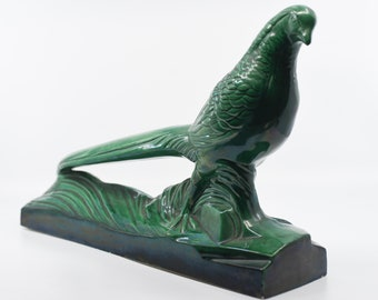 ceramic bird French vintage St RADEGONDE large green iridescent pheasant plinth signed collectible pottery sculpture home decor c.1940s rare