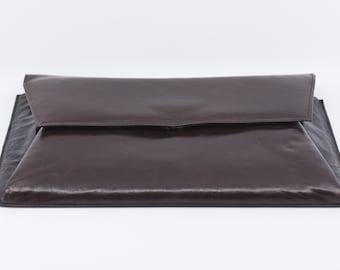vintage clutch handbag CHARLES JOURDAN PARIS designer brown leather retro fashion French envelope purse midcentury made in France 1960 rare