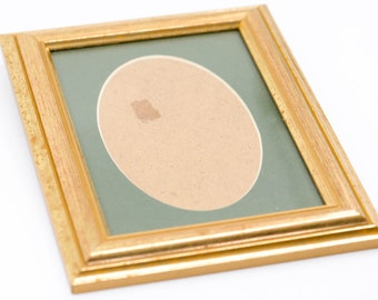 """wood picture frame for the wall French vintage gold gilt bevel edge vertical portrait oval green mount card country home deco 8.5""""x 6.5"""""""