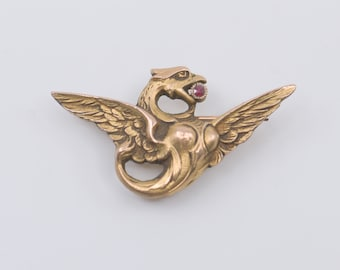 antique brooch chimera gold copper tone metal garnet detail stamped TEXIRA French art nouveau style vintage pin mythical dragon jewellery
