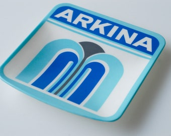 trinket ring dish large square publicity advertising for Arkina vintage organisation storage blue white retro design typeface made Italy 60s