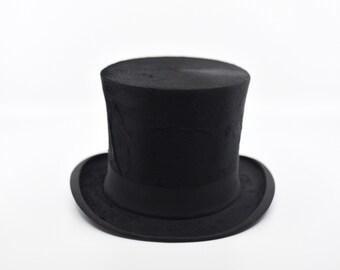 vintage top hat black silk French antique maker stamp Maison Bernard Beziers Delieux Malart St formal wear vintage wedding Victorian 1900s