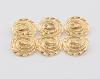 buttons French vintage round gold metal openwork spiral shank back six matching fasteners midcentury modern sewing supply made in France 50s