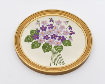 embroidery silk wall art hanging French vintage for the home ESSOR round gold frame violet flowers ecru satin background midcentury mod 60s