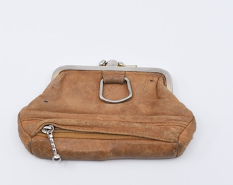 vintage coin purse battered beige brown leather silver tone metal clasp medium size double sided with zip compartment retro french 1970s