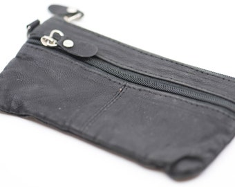 """leather purse black 80s French vintage porte monnaie coin accessory slim flat pouch lined with 2 compartments soft tactile wallet 14cm 5.5"""""""