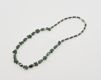 80s vintage hematite aventurine necklace polished silver spacers retro green black gemstone jewellery gift for her collectible magnetic