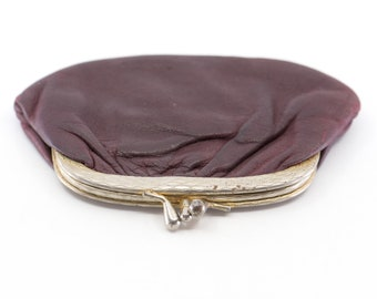 coin purse French vintage dark maroon real leather midcentury modern silver tone two compartment metal clasp small porte monnaie pouch 70s