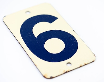 French vintage enamel door number 6 six house sign metal salvage architectural hardware dark blue ecru country home improvement rare 1950s