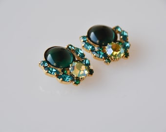 green clip on earrings 1980s designer costume jewellery schiaparelli style large statement fashion jewellery gift for her collectible rare
