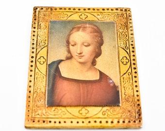 French vintage wall art La Madonna de Cardellino by Raffaello Sanzio gilded wood frame Italian Firenze icone mid C20th repro 19 x 14cm rare