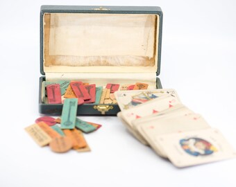 french vintage game playing cards and set of 37 mixed size colour printed wood gambling chips jetons publicity tokens BONAL Gentiane boxed