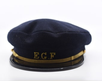 beret navy blue wool utility cap French vintage EGF casquette gold trim and logo collectible national electricity co Scecam Bernay 57 c1950s