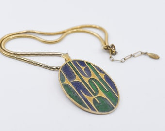 vintage necklace SPHINX NK 175 mark numbered modernist blue green enamel oval pendant gold tone abstract and chain UK designer jewellery 60s