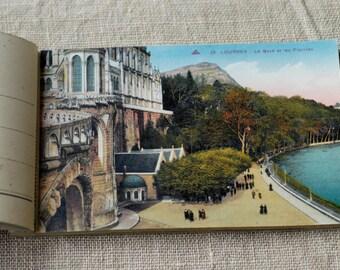 vintage postcard book LOURDES 18 cartes 'photomechantiques' French art deco period antique postcards collectible cards CAP Strasbourg 1937