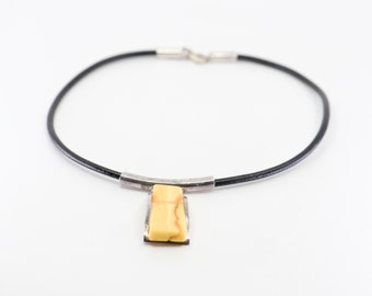 70s modernist necklace 925 sterling silver yellow amber style opaque marble polished rectangular pendant black leather cord minimal jewelery