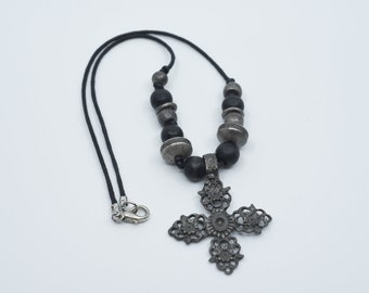 vintage necklace cross pendant revival afghan jewellery silver tone metal mix black bead detail knotted black cord made in Afghanistan