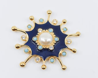 vintage brooch pendant Barrera for AVON gold tone faux pearl turquoise bead clear strass surround dark blue enamel large costume jewellery