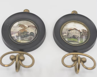 framed pictures with hooks matching pair French vintage antique style black round brass hanging storage organisation home deco for the wall