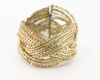 cuff bangle French vintage gold metal mix bead braided chunky statement jewellery bracelet spiral round one size midcentury modern c1940s
