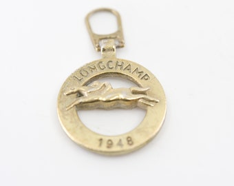 LONGCHAMP 1948 hand bag zip zipper pull key fob French vintage accessory finding replacement gold tone logo tag leather craft supply