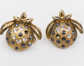 earrings designer RUTINO clip on Italian vintage round leaf strass retro costume jewellery accessory collectible gift made in Italy 80s rare