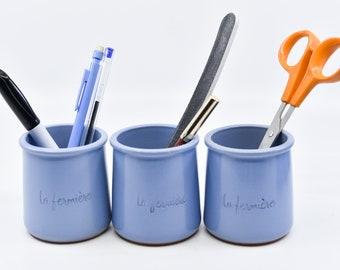 lavender blue glaze terracota yogurt pots French vintage La Fermiere farmhouse kitchen pottery jars storage decor tea light planters one pot