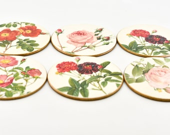 vintage coaster set six floral roses Lady Clare botanical flower round cup glass placemats vintage kitchen wedding for the table 60s barware