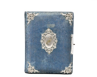 antique photo album French velvet pewter vintage photography collectible La Belle Epoque Victorian family album scrapbook teal blue rare
