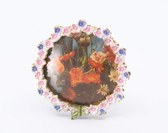 miniature picture mini photo frame French vintage brass tone metal pretty floral flower rim round with easel stand for display 40mm