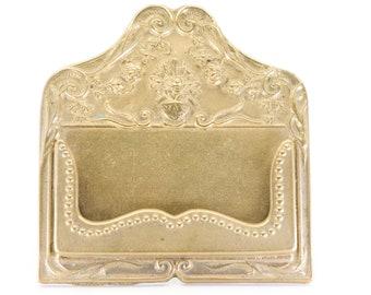 vintage business card holder dispenser display ornate brass art nouveau revival style with easel back for the office desk work table c1950s