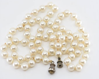 """genuine pearl necklace French vintage art deco single strand barrel clasp paste hand knotted 31cm 12"""" 36g special elegant jewellery gift"""