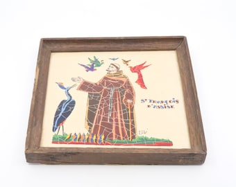 wall art French vintage square wood frame enamel Saint Francis of Assisi original composition CERONIT L'EUMAIL signed ELJE made in France