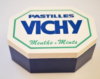 french vintage box VICHY mint sweets octagon advertising memorabilia retro organisation storage home decor accent collectible design