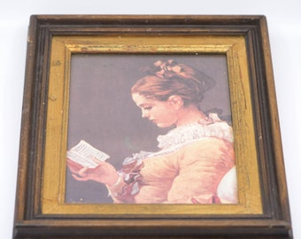 young girl reading Jean Honoré Fragonard reproduction print framed lithograph bevel gilt wood French vintage wall art portrait woman 18""
