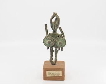 bronze statue wood stand Nuragic warrior figure La Fucina di Franco Fontanarosa Bronzetti Ferri Battuti Calgliari Italian vintage c1960s