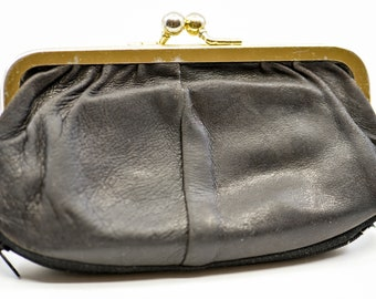 coin purse French vintage genuine soft black leather four compartment bag pouch for money large gold tone metal clasp leather ring c1960s