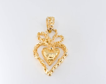 gold heart crown pendant Christian Lacroix stamped verso collectible designer French vintage fashion couture gilded jewellery made in France