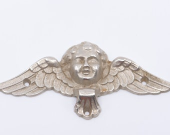 "cherub winged silver metal tone architectural salvage 6"" wall plaque decoration antique deco hardware angels home improvement made in France"