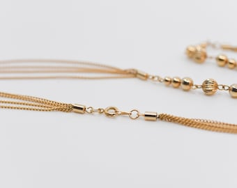 necklace French vintage flapper style long 3 strands link chain with round spacer design revival jewellery gold tone metal
