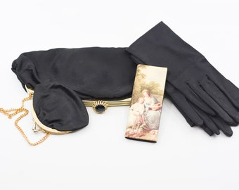 French vintage black gold cocktail clutch evening bag inside chain coin purse satin gloves pocket mirror comb midcentury party accessory 60s