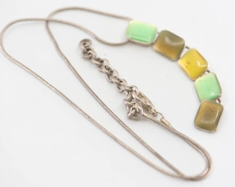 French vintage necklace by SKALLI Paris resin silver plate single strand jewellery adjustable geometric yellow green vertical modernist 90s