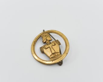French antique brooch chevalier knight in circle military insignia for beret brass tone metal patina stamped L BICHET LIVRY GARGAN militaria